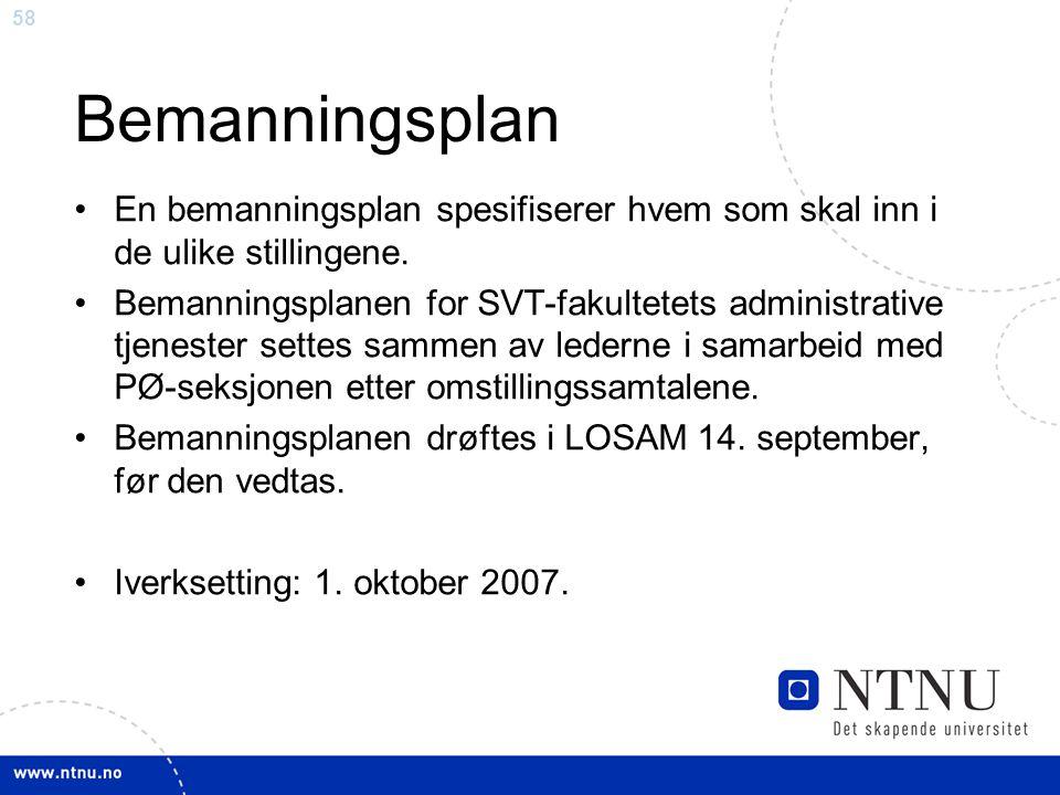 Bemanningsplan En bemanningsplan spesifiserer hvem som skal inn i de ulike stillingene.