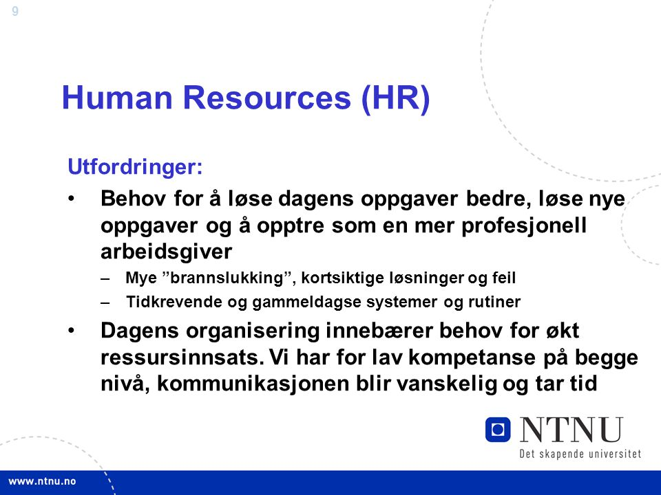 Human Resources (HR) Utfordringer: