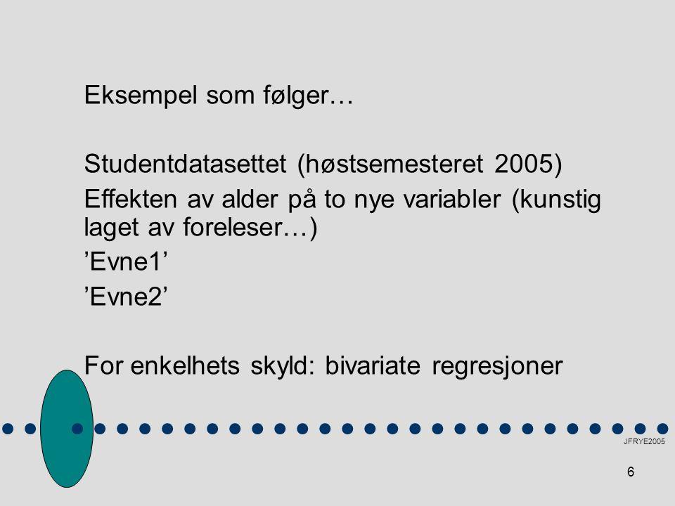 Studentdatasettet (høstsemesteret 2005)
