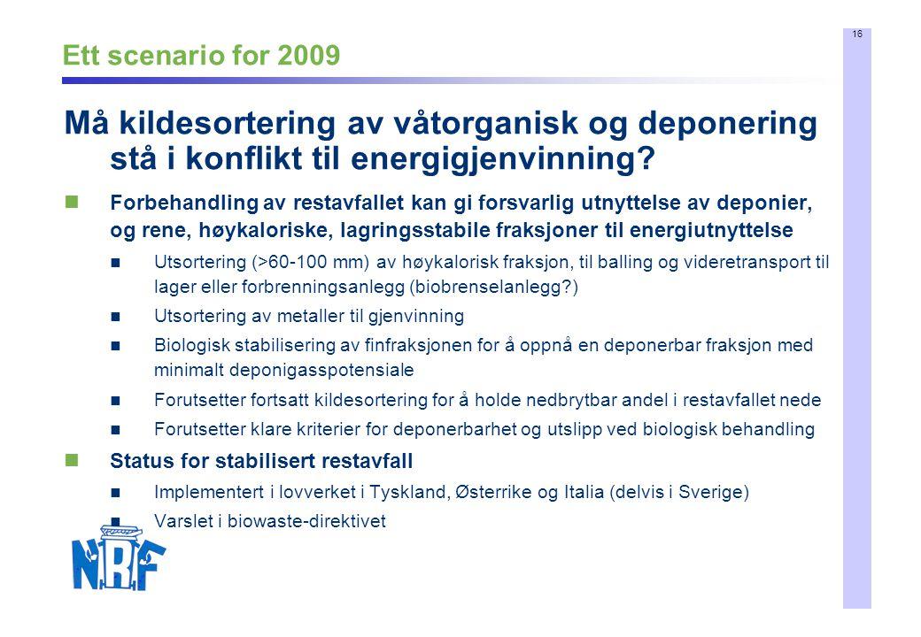 Ett scenario for 2009 Må kildesortering av våtorganisk og deponering stå i konflikt til energigjenvinning