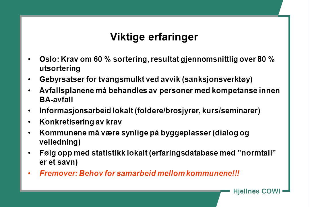 Viktige erfaringer Oslo: Krav om 60 % sortering, resultat gjennomsnittlig over 80 % utsortering.
