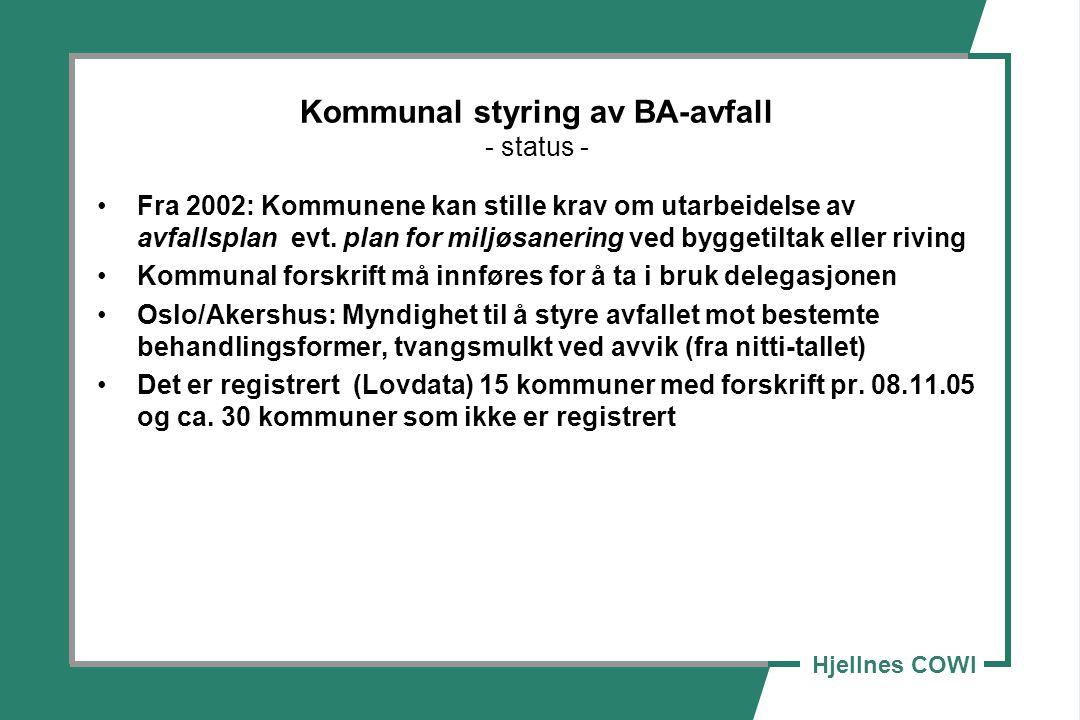 Kommunal styring av BA-avfall - status -