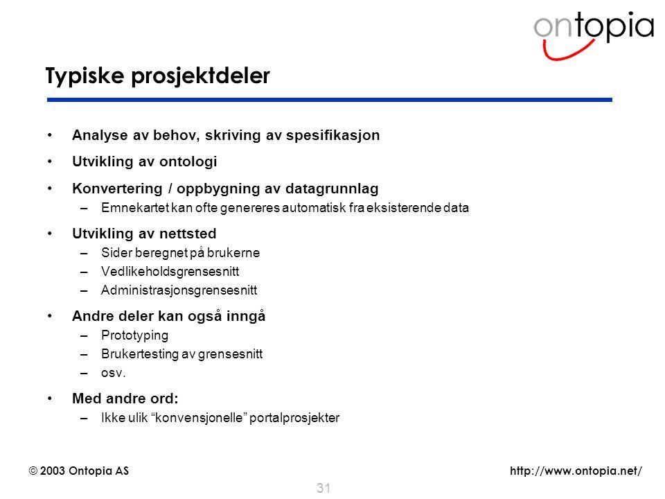 Typiske prosjektdeler