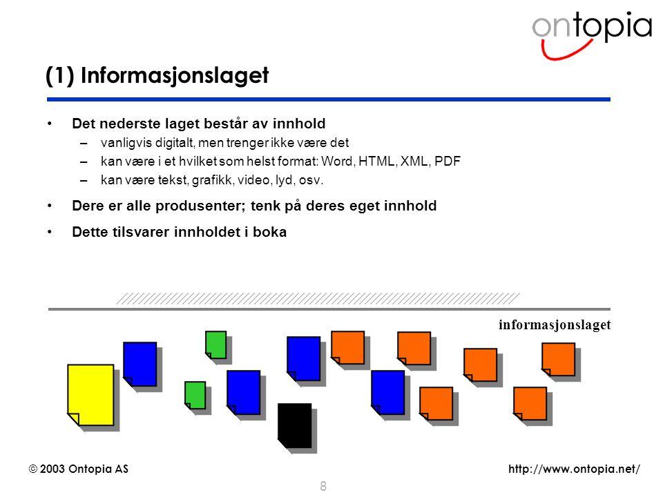 (1) Informasjonslaget Det nederste laget består av innhold
