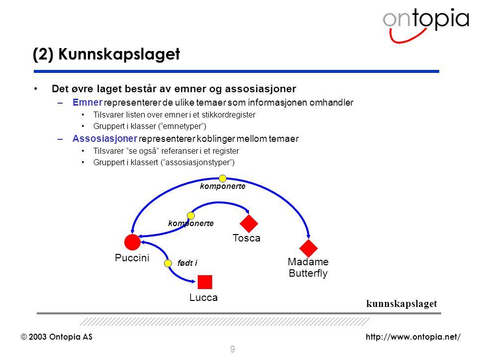(2) Kunnskapslaget Det øvre laget består av emner og assosiasjoner