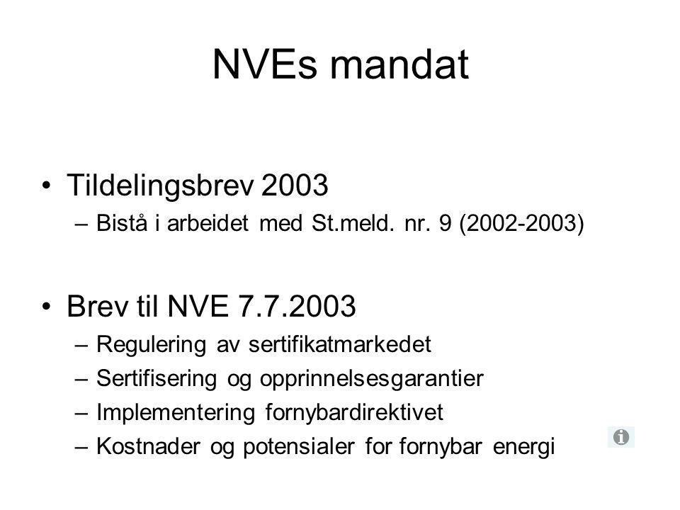 NVEs mandat Tildelingsbrev 2003 Brev til NVE 7.7.2003
