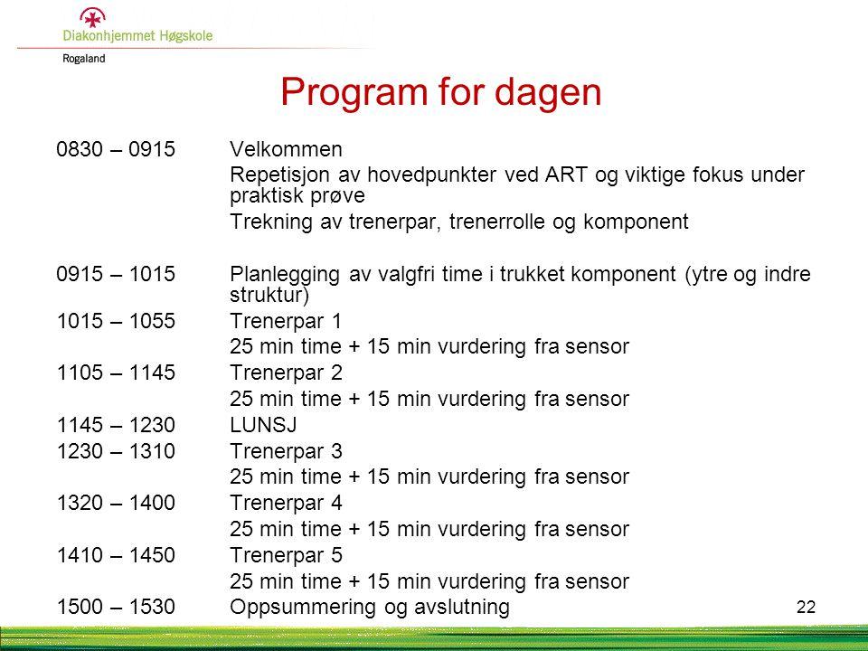 Program for dagen 0830 – 0915 Velkommen