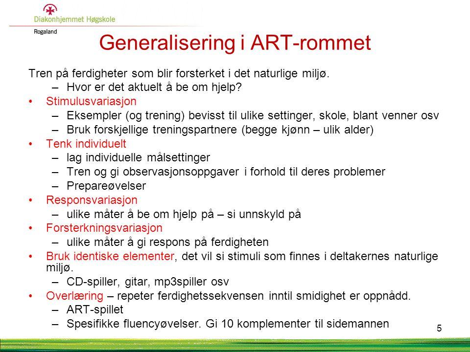 Generalisering i ART-rommet