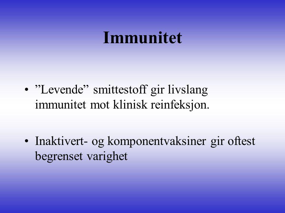 Immunitet Levende smittestoff gir livslang immunitet mot klinisk reinfeksjon.