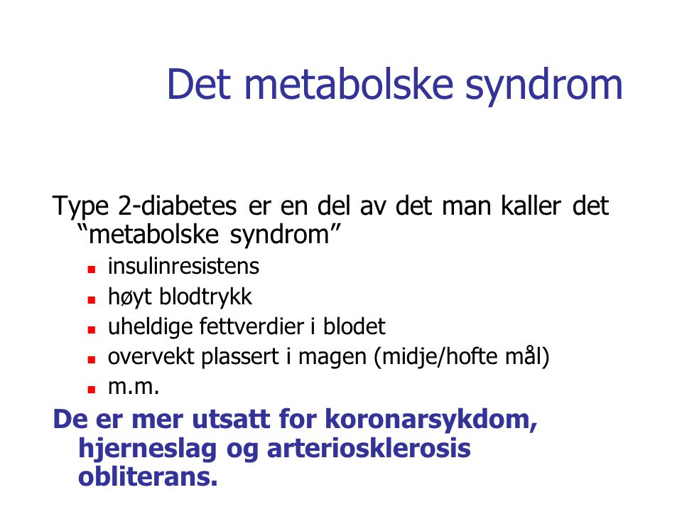 Det metabolske syndrom