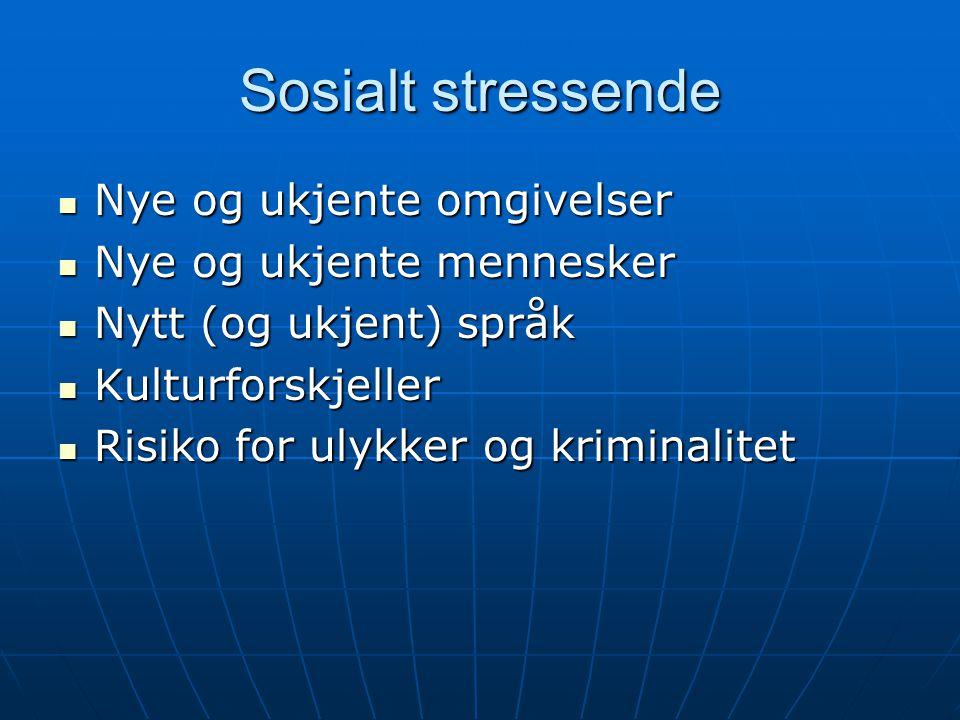 Sosialt stressende Nye og ukjente omgivelser Nye og ukjente mennesker
