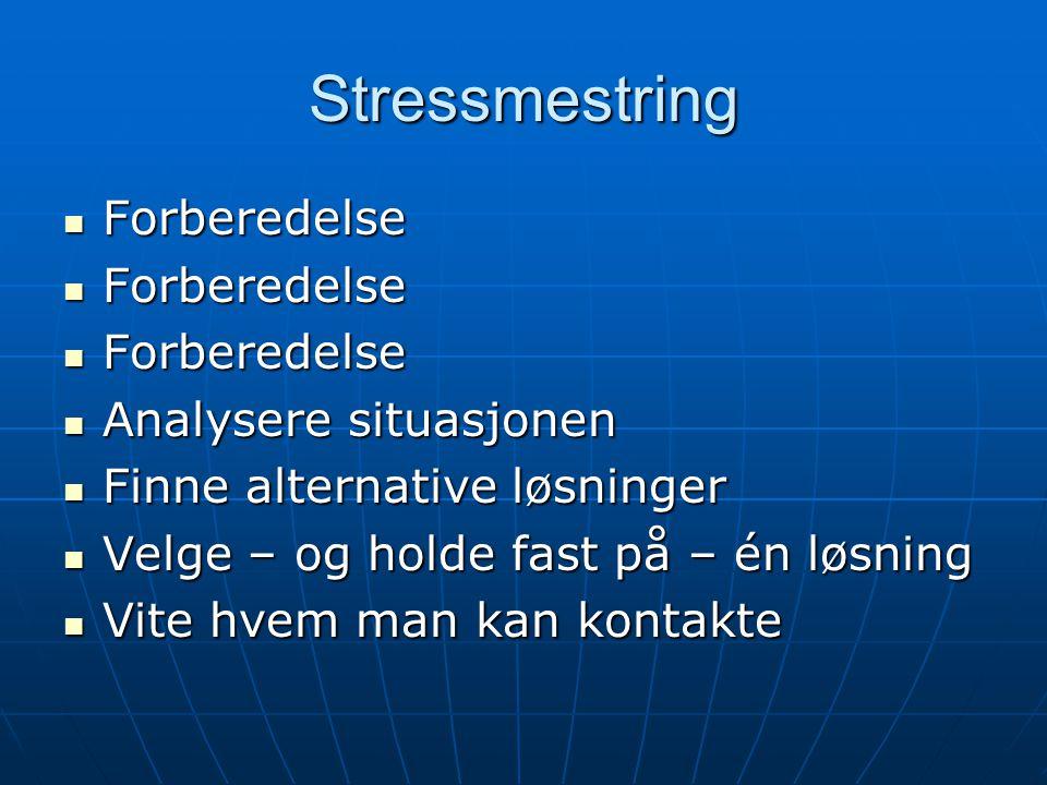 Stressmestring Forberedelse Analysere situasjonen