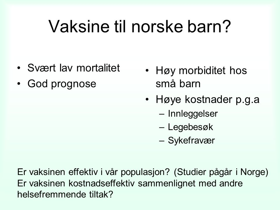 Vaksine til norske barn