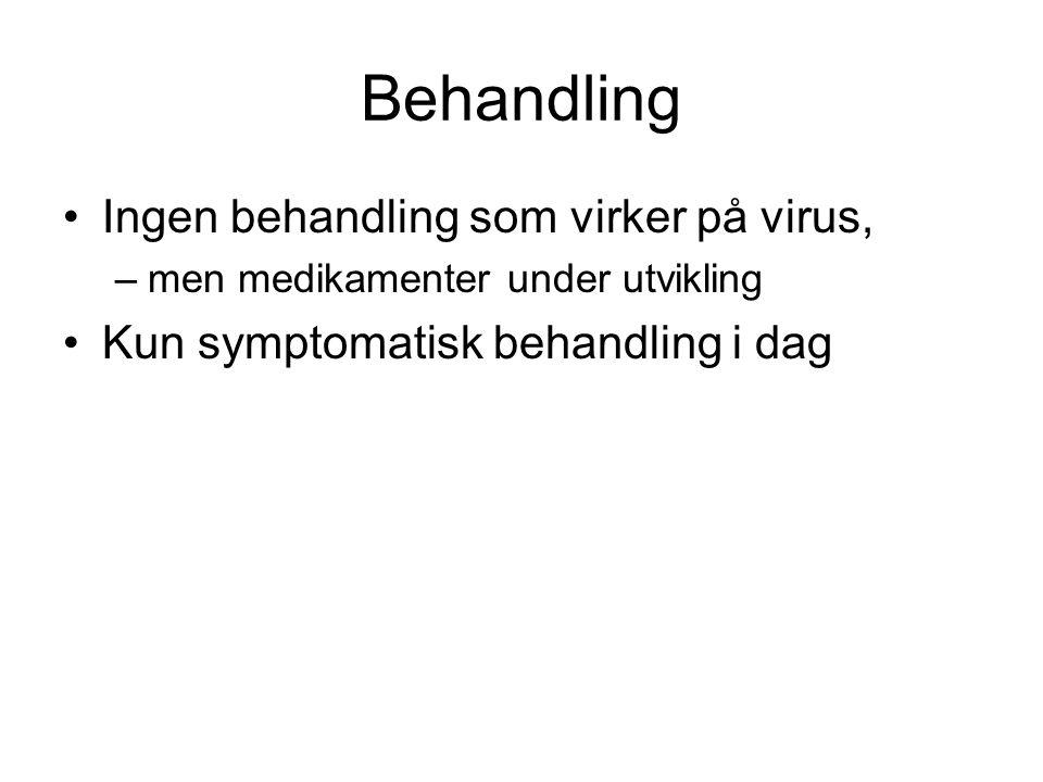 Behandling Ingen behandling som virker på virus,