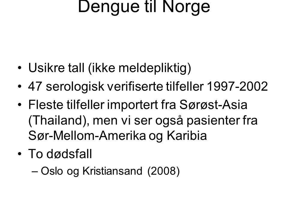 Dengue til Norge Usikre tall (ikke meldepliktig)
