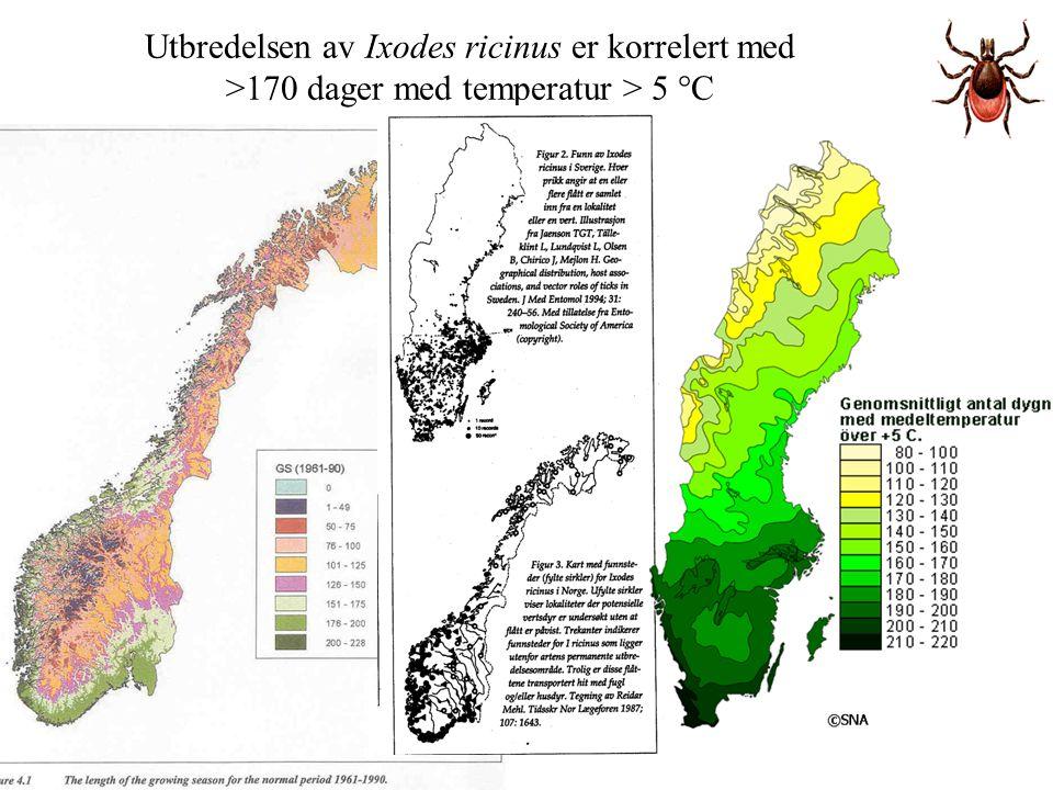 Utbredelsen av Ixodes ricinus er korrelert med >170 dager med temperatur > 5 °C
