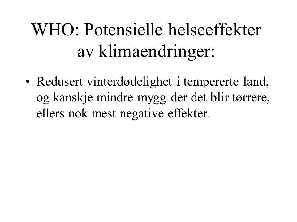 WHO: Potensielle helseeffekter av klimaendringer: