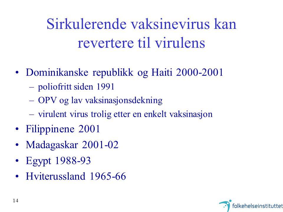Sirkulerende vaksinevirus kan revertere til virulens