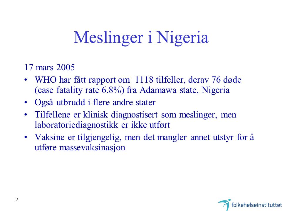 Meslinger i Nigeria 17 mars 2005
