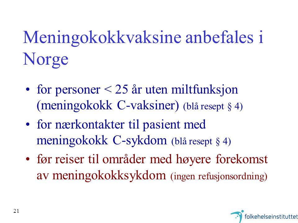 Meningokokkvaksine anbefales i Norge