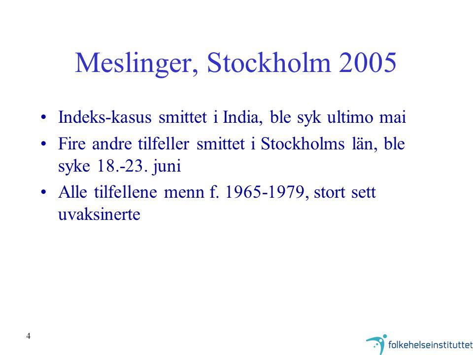 Meslinger, Stockholm 2005 Indeks-kasus smittet i India, ble syk ultimo mai. Fire andre tilfeller smittet i Stockholms län, ble syke 18.-23. juni.
