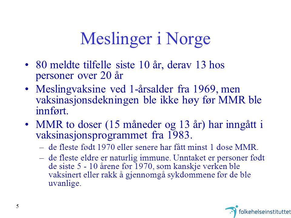 Meslinger i Norge 80 meldte tilfelle siste 10 år, derav 13 hos personer over 20 år.