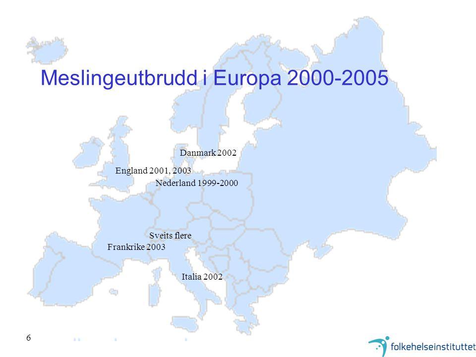 Meslingeutbrudd i Europa 2000-2005