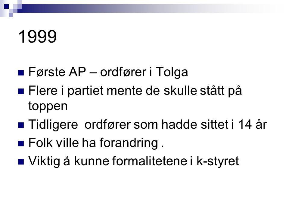 1999 Første AP – ordfører i Tolga