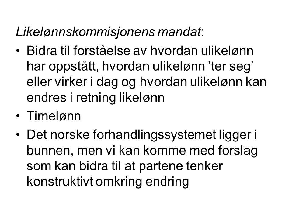 Likelønnskommisjonens mandat: