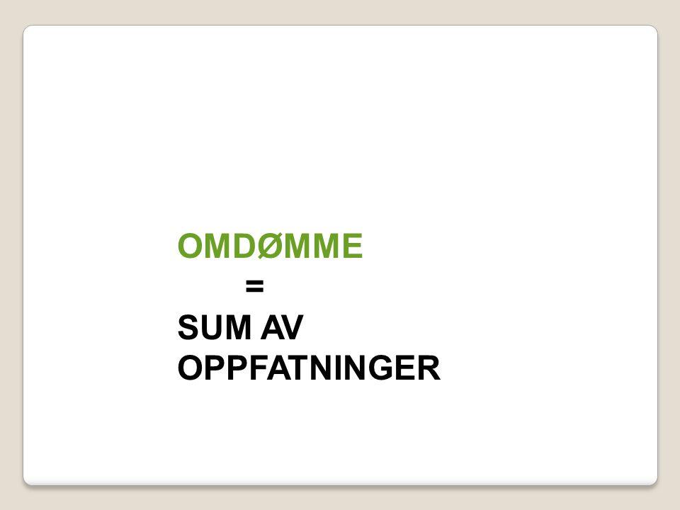 OMDØMME = SUM AV OPPFATNINGER