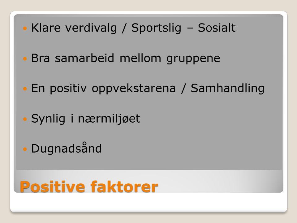 Positive faktorer Klare verdivalg / Sportslig – Sosialt