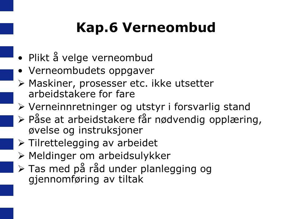 Kap.6 Verneombud Plikt å velge verneombud Verneombudets oppgaver