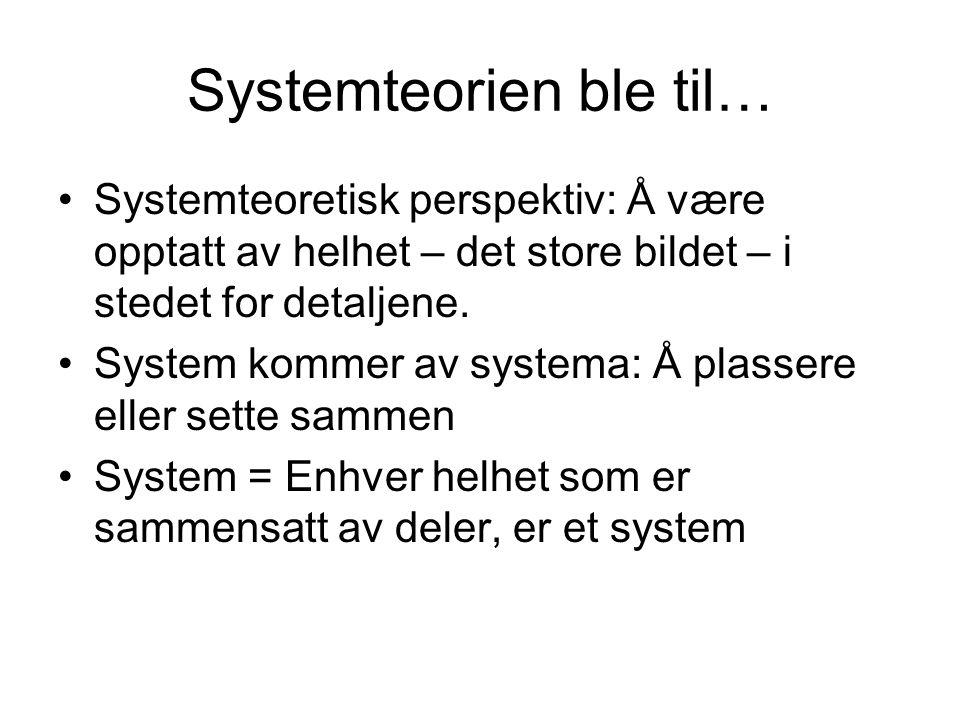 Systemteorien ble til…