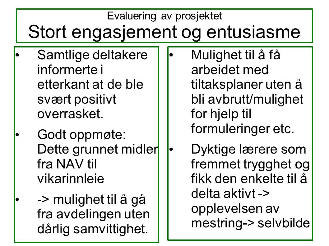 Evaluering av prosjektet Stort engasjement og entusiasme