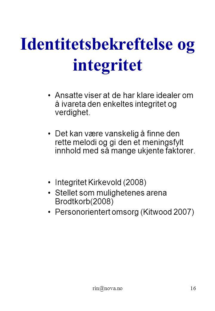 Identitetsbekreftelse og integritet