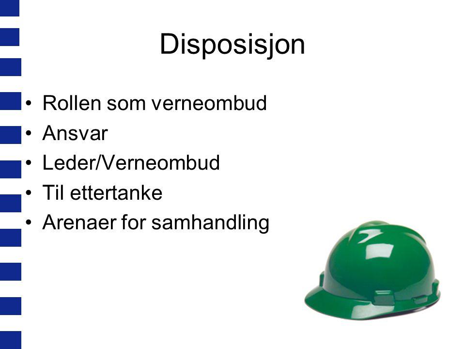 Disposisjon Rollen som verneombud Ansvar Leder/Verneombud