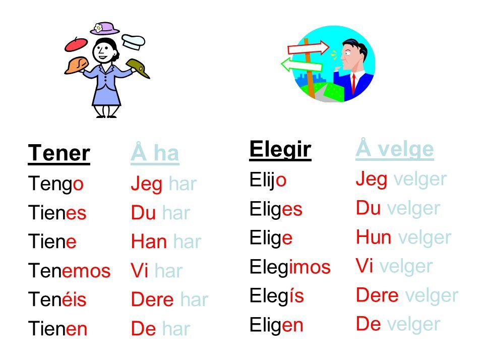 Elegir Tener Å ha Å velge Elijo Eliges Elige Elegimos Elegís Eligen