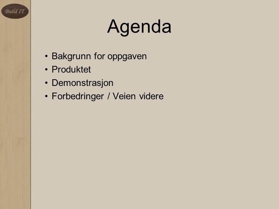 Agenda Bakgrunn for oppgaven Produktet Demonstrasjon