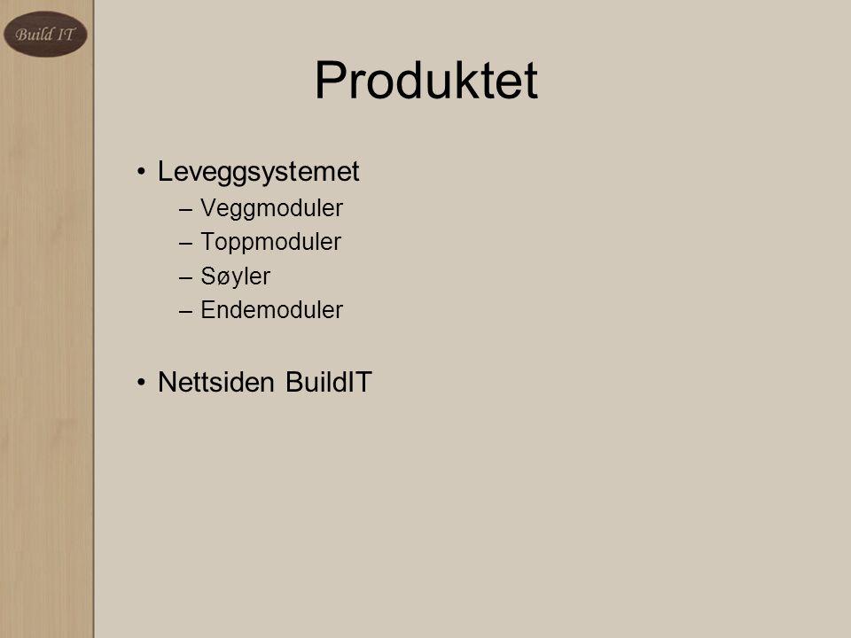 Produktet Leveggsystemet Nettsiden BuildIT Veggmoduler Toppmoduler