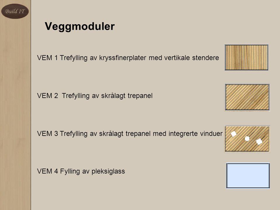Veggmoduler VEM 1 Trefylling av kryssfinerplater med vertikale stendere. VEM 2 Trefylling av skrålagt trepanel.