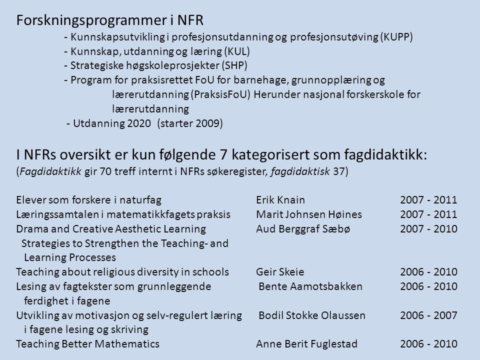 Forskningsprogrammer i NFR