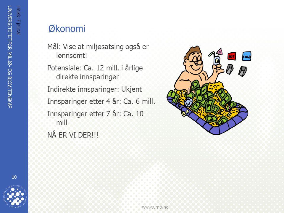 Økonomi Mål: Vise at miljøsatsing også er lønnsomt!