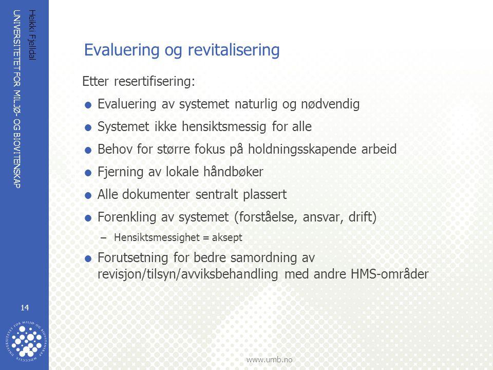 Evaluering og revitalisering