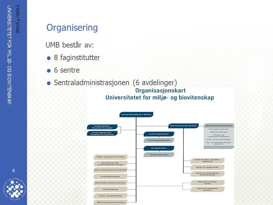 Organisering UMB består av: 8 faginstitutter 6 sentre