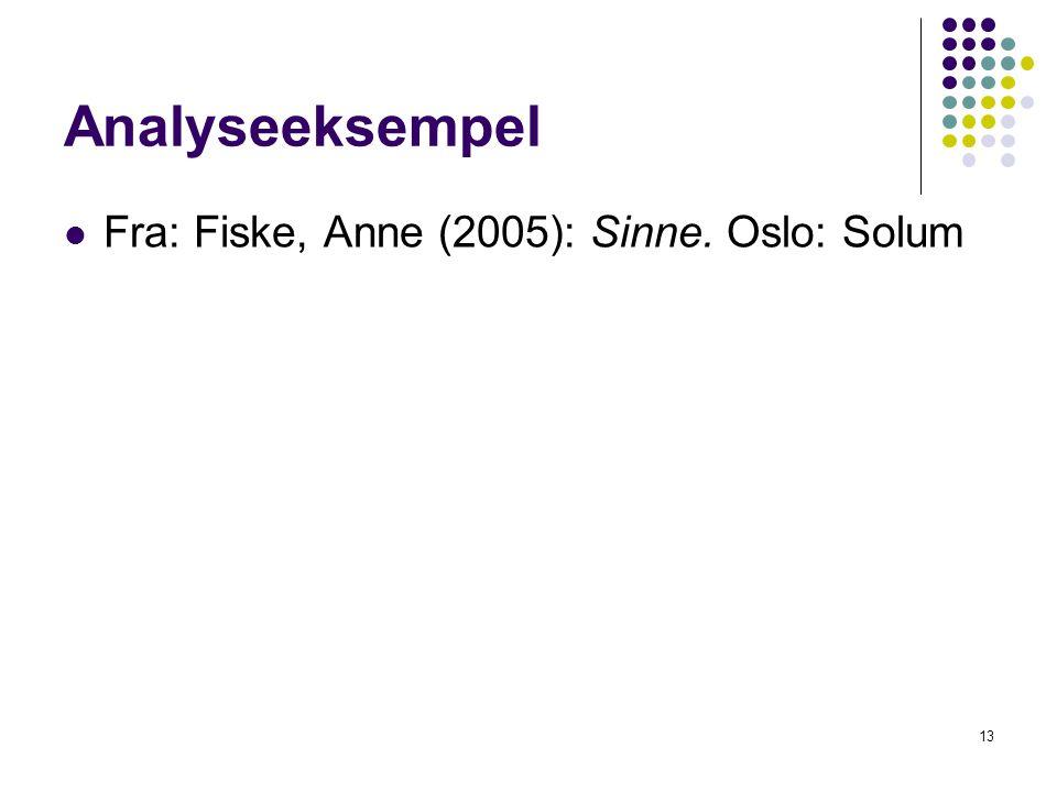Analyseeksempel Fra: Fiske, Anne (2005): Sinne. Oslo: Solum