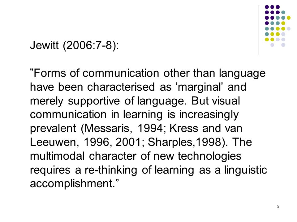 Jewitt (2006:7-8): Forms of communication other than language.