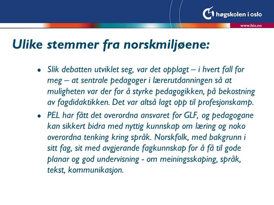 Ulike stemmer fra norskmiljøene: