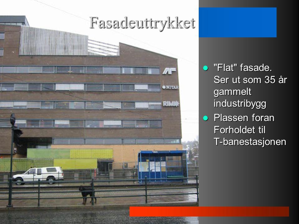 Fasadeuttrykket Flat fasade. Ser ut som 35 år gammelt industribygg