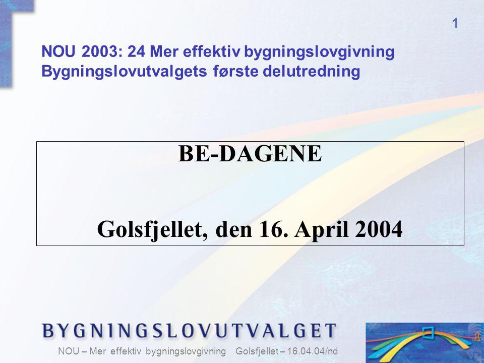 BE-DAGENE Golsfjellet, den 16. April 2004