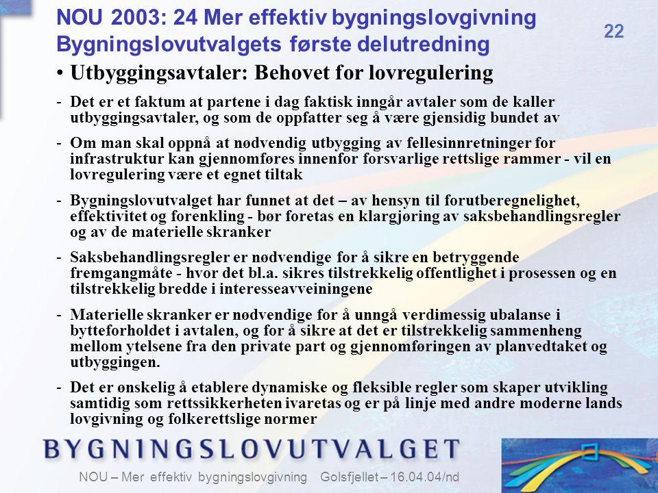 Utbyggingsavtaler: Behovet for lovregulering